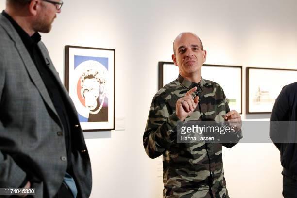 Steve Lazarides addresses media during a media preview for The Art of Banksy on September 12, 2019 in Sydney, Australia.
