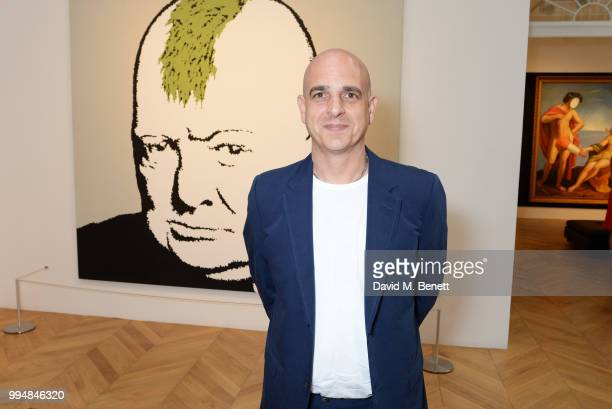 Steve Lazarides attends the Bansky 'Greatest Hits 20022008' exhibition VIP preview at Lazinc on July 9 2018 in London England