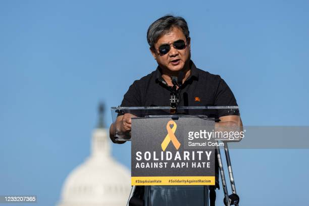 Steve Lee of the Korean American Association of Greater Washington speaks during a rally on the National Mall on May 31, 2021 in Washington, DC....