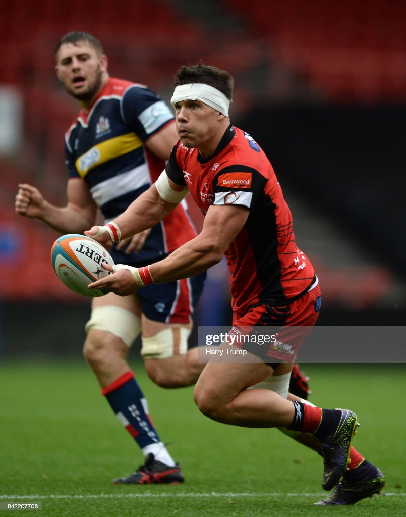 Steve Leonard of Hartpury College makes a break during the Greene King IPA Championship match between Bristol Rugby and Hartpury College at Ashton Gate on September 3, 2017 in Bristol, England.