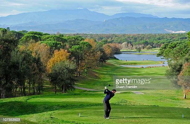 Steve Lewton of England in action during the second round of the European Tour qualifying school final stage at PGA golf de Catalunya on December 6...