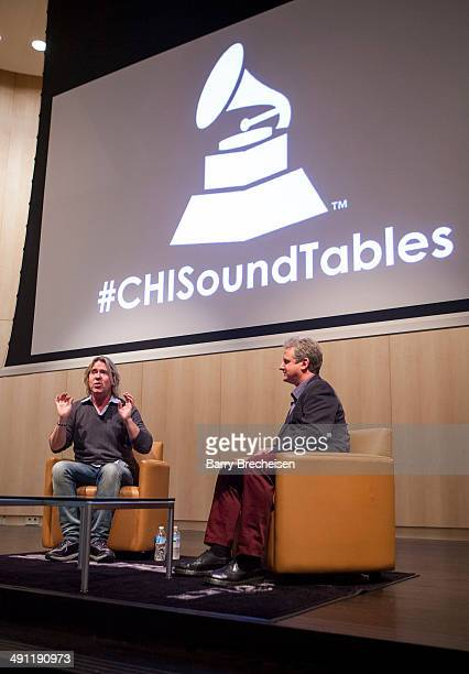 Steve Lillywhite and Mark Brunner during the GRAMMY SoundTables Behind The Glass With Steve Lillywhite at Shure Inc on May 15 2014 in Niles Illinois
