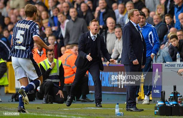 Steve Lomas Manager of Millwall FC shows his anger at Harry Redknapp manager of Queens Park Rangers during the Sky Bet Championship match between...