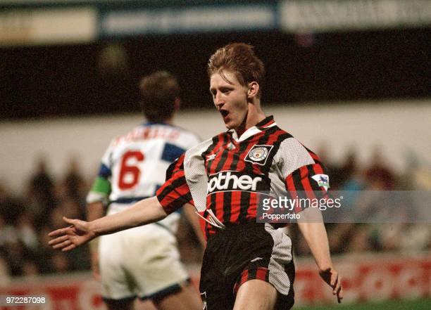 Steve Lomas of Manchester City celebrates after scoring during the Coca Cola League Cup 3rd Round tie between Queens Park Rangers and Manchester City...