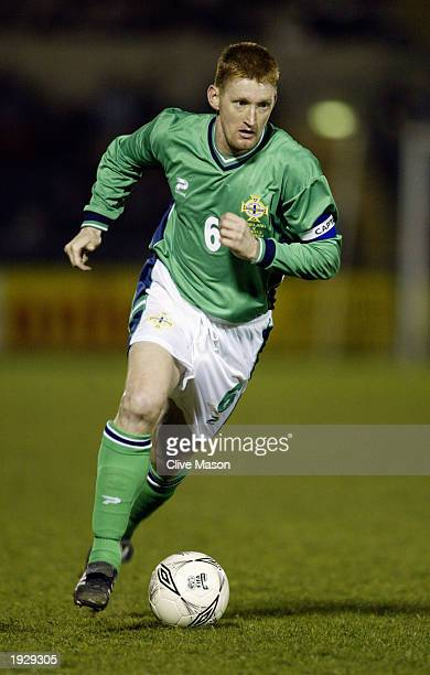 Steve Lomas of Northern Ireland runs with the ball during the European Championships 2004 Group 6 Qualifying match between Northern Ireland and...