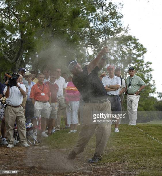 Steve Lowery blasts from a bunker on the eighth hole during the final round of the 2005 Chrysler Championship at the Westin Innsbrook Resort...