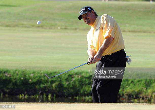 Steve Lowery chips into the green on the 14th hole during the third round on the Copperhead Course of the 2005 Chrysler Championship October 29 in...