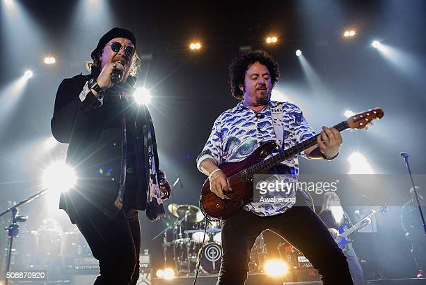 Steve Lukather and David Paich of Toto perform at Pala Alpitour on February 6 2016 in Turin Italy