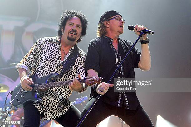 Steve Lukather and Joseph Williams of Toto perform at the Ziggo Dome on June 8 2013 in Amsterdam Netherlands