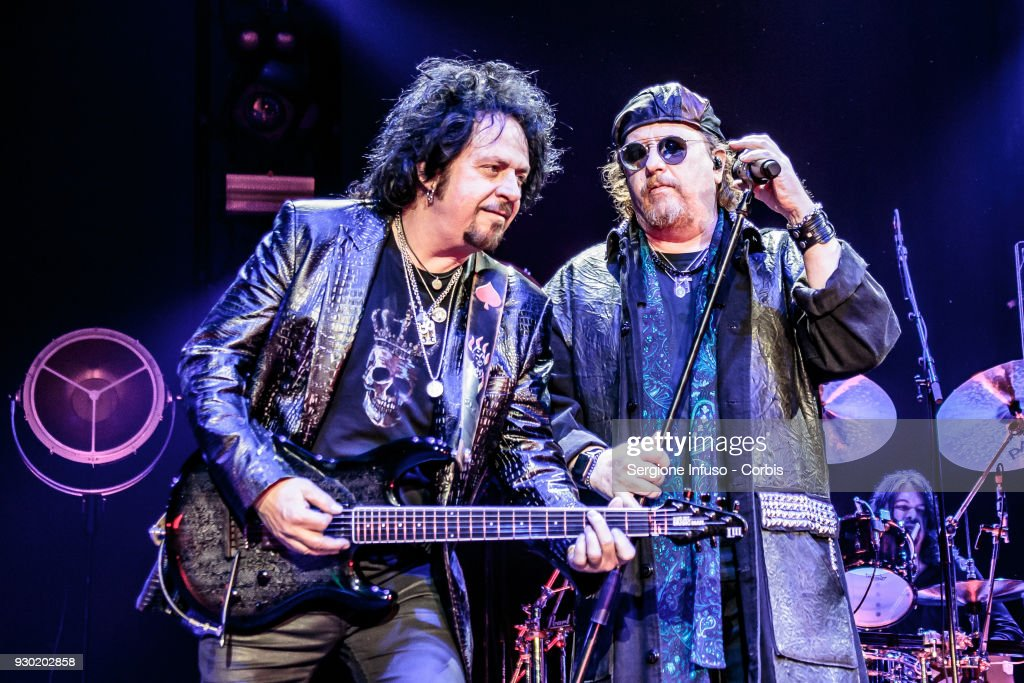 Steve Lukather (L) and Joseph Williams (R) of Toto perform on stage at Mediolanum Forum of Assago on March 10, 2018 in Milan, Italy.