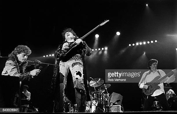 Steve Lukather and Mike Porcaro of Toto perform on stage at Ahoy Rotterdam Netherlands 2nd March 1988