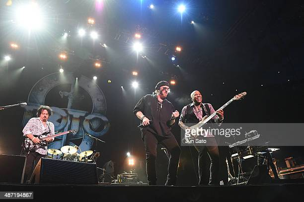 Steve Lukather Joseph Williams and Nathan East of Toto perform live during their 35th Anniversary Tour at the Nippon Budokan on April 28 2014 in...