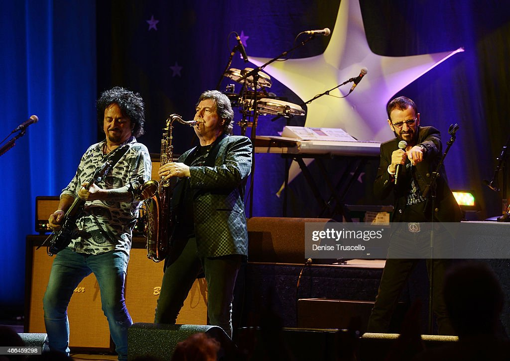 Steve Lukather, Warren Ham and Ringo Starr perform at the Pearl at the Palms Casino Resort on March 15, 2015 in Las Vegas, Nevada.