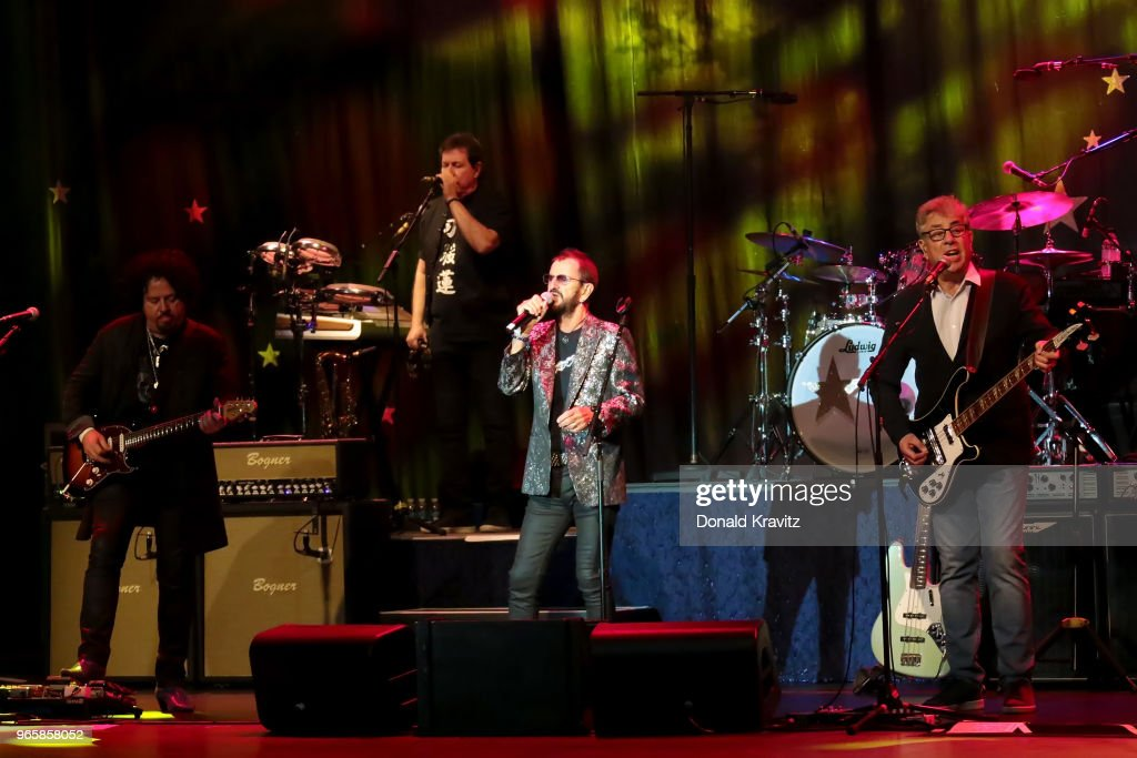 Steve Lukather, Warren Ham, Ringo Starr and Graham Gouldman members of The All-Starr Band performs in concert at Music Box at the Borgata on June 1, 2018 in Atlantic City, New Jersey.