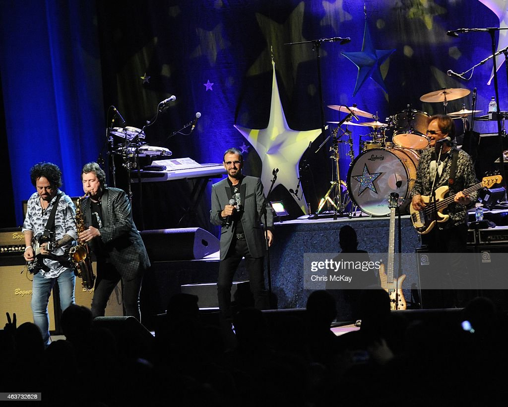 Steve Lukather, Warren Ham, Ringo Starr, and Richard Page perform at The Peace Center on February 17, 2015 in Greenville, South Carolina.