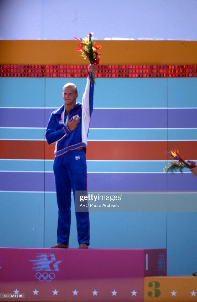 Men's Swimming 100 Metre Breaststroke Medal Ceremony At The 1984 Summer Olympics : News Photo