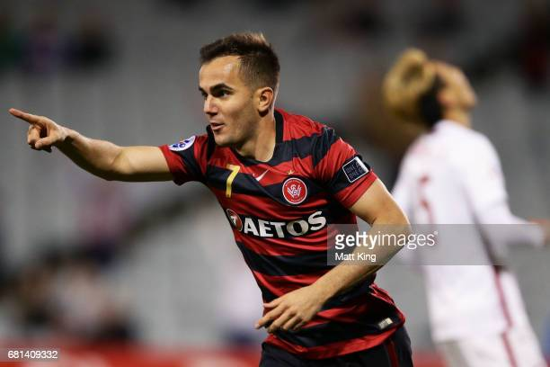 Steve Lustica of the Wanderers celebrates scoring a goal during the AFC Asian Champions League Group Stage match between the Western Sydney Wanderers...