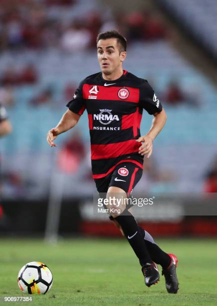 Steve Lustica of the Wanderers controls the ball during the round 17 ALeague match between the Western Sydney Wanderers and the Melbourne Victory at...