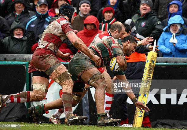 Steve Mafi of Leicester Tigers goes through to score a try during the Aviva Premiership match between Leicester Tigers and Gloucester at Welford Road...