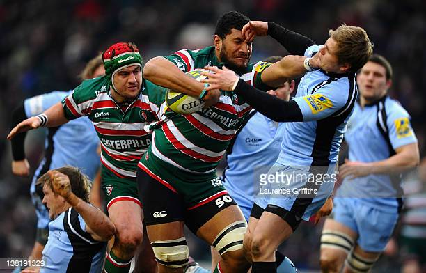 Steve Mafi of Leicester Tigers holds off Chris Pilgrim of Newcastle Falcons during the LV Cup round four match between Leicester Tiger and Newcastle...