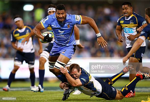 Steve Mafi of the Force makes a line break during the round four Super Rugby match between the Brumbies and the Force at GIO Stadium on March 6 2015...