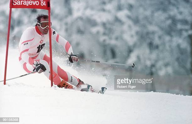 Steve Mahre of the United States competes in the Men's Giant Slalom skiing competition during the 1984 Winter Olympics on February 14 1984 in...