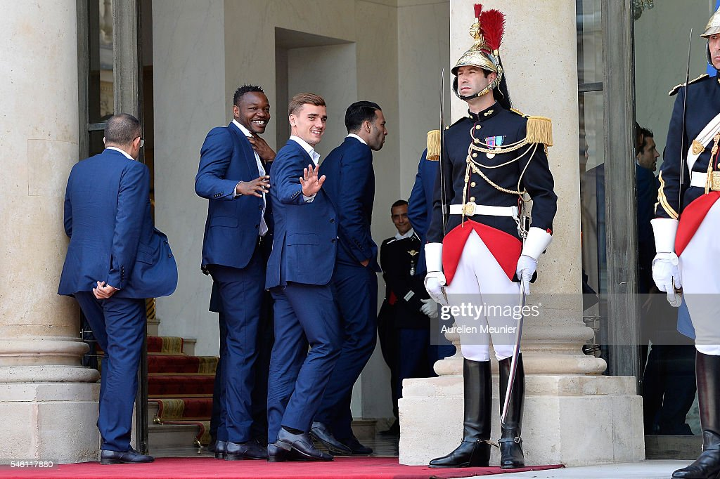 French President Francois Hollande Receives France Soccer Team At Elysee Palace in Paris