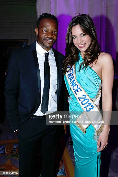 Steve Mandanda and Miss France 2013 Marine Lorphelin attend 'Global Gift Gala' at Hotel George V on May 13 2013 in Paris France