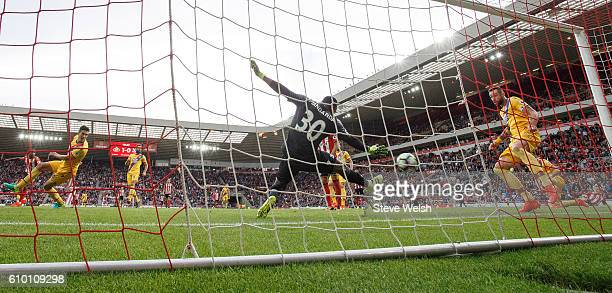 Steve Mandanda of Crystal Palace fails to stop Jermain Defoe of Sunderland from scoring their second goal during the Premier League match between...