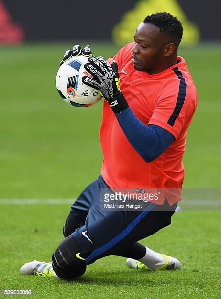 Steve Mandanda of France in action during training session ahead of the UEFA EURO 2016 Group A match between France and Romania at Stade de France on...