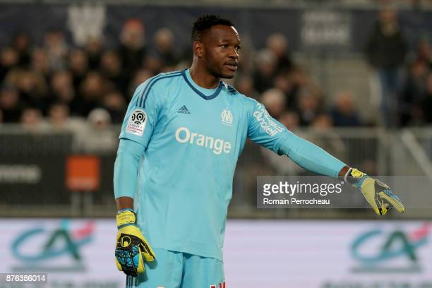 Steve Mandanda of Marseille gestures during the Ligue 1 match between FC Girondins de Bordeaux and Olympique Marseille at Stade Matmut Atlantique on...