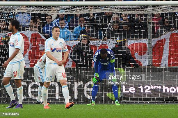 Steve MANDANDA of Marseille looks dejected during the French Ligue 1 match between Olympique de Marseille v Stade Rennes at Stade Velodrome on March...