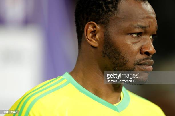 Steve Mandanda of Marseille looks on before the Ligue 1 match between Toulouse and Olympique Marseille at Stadium Municipal on March 11 2018 in...