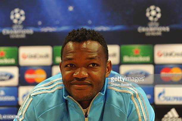 Steve Mandanda of Olympic Marseille talks to the media during a press conference at Emirates Stadium on November 25 2013 in London England