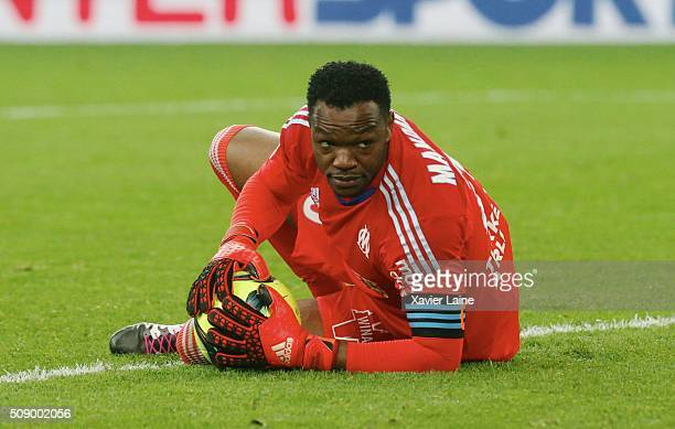 Steve Mandanda of Olympique de Marseille during the French Ligue 1 between Olympique de Marseille and Paris SaintGermain at Stade Velodrome on...