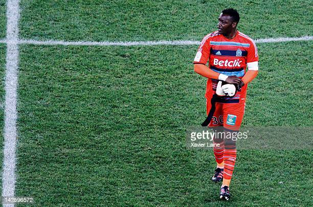 Steve Mandanda of Olympique de Marseille is disapointed after the French Ligue 1 between Paris SaintGermain and Olympique de Marseille at Parc Des...