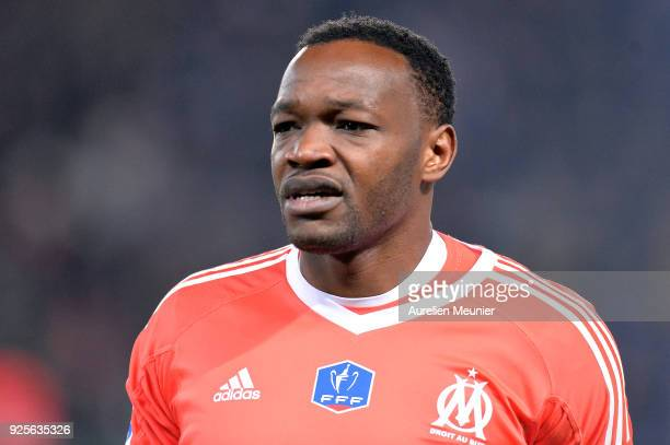 Steve Mandanda of Olympique de Marseille reacts during warmup before the French Cup match between Paris SaintGermain and Olympique de Marseille at...