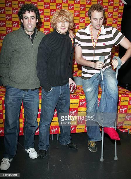 Steve Mangan Julian RhindTutt and Oliver Chris during Green Wing InStore Appearance and DVD Signing at Virgin Megastore in London April 11 2006 at...