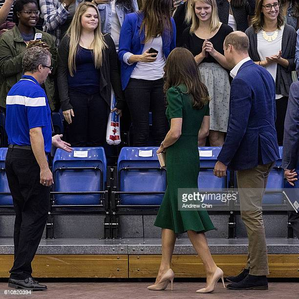 Steve Manuel Duchess of Cambridge Catherine and Prince William Duke of Cambridge watch a volleyball match at University of British Columbia Okanagan...