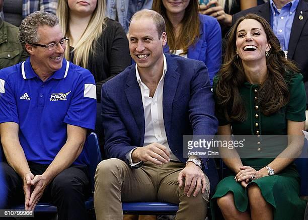 Steve Manuel Prince William Duke of Cambridge and Catherine Duchess of Cambridge watch a volleyball match at University of British Columbia Okanagan...