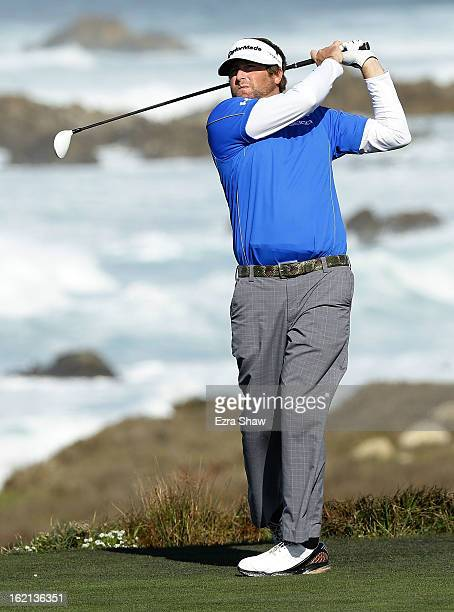 Steve Marino hits a shot during the second round of the ATT Pebble Beach National ProAm at the Monterey Peninsula Country Club on February 8 2013 in...