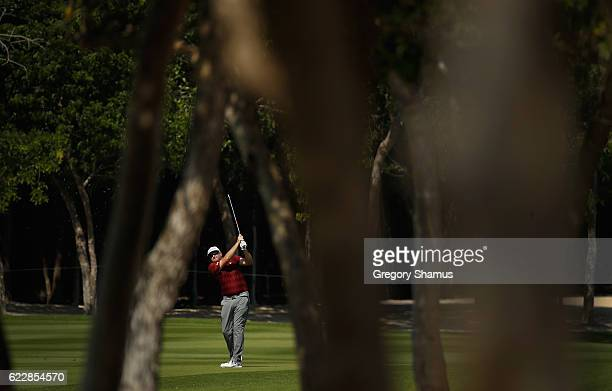 Steve Marino of the United States plays his shot from the ninth fairway during the third round of the OHL Classic at Mayakoba on November 12 2016 in...