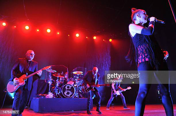 Steve Marker Butch Vig Duke Erikson Eric Avery and Shirley Manson of Garbage performs on stage at Brixton Academy on July 1 2012 in London United...