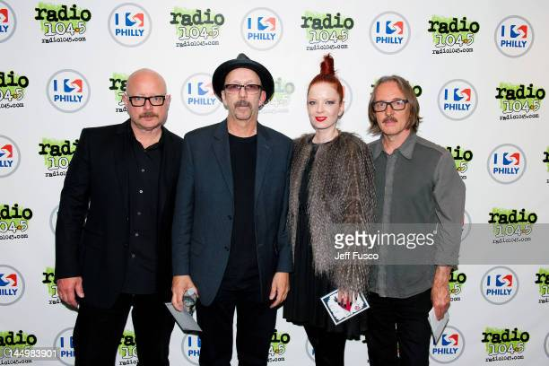 Steve Marker Duke Erikson Shirley Manson and Butch Vig of Garbage pose at the Radio 1045 iHeart Performance Theater on May 21 2012 in Bala Cynwyd...