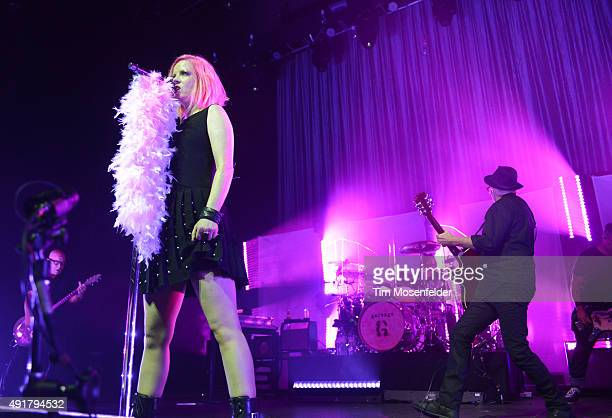 Steve Marker Shirley Manson Butch Vig and Duke Erikson of Garbage perform during the band's 20 Years Queer Tour at The Fox Theater on October 7 2015...