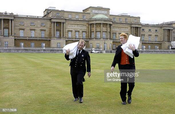 Steve Marshall Assistant Yeoman [left] And Richard Buchanan Under Butler In The Glass Pantry Carrying Table Cloths Out To The Royal Tea Tent In The...