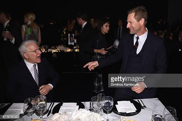 Steve Martin and Aaron Eckhart attend the MoMA Film Benefit presented by CHANEL A Tribute To Tom Hanks at MOMA on November 15 2016 in New York City