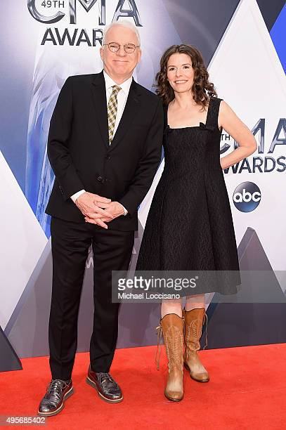 Steve Martin and musician Edie Brickell attend the 49th annual CMA Awards at the Bridgestone Arena on November 4 2015 in Nashville Tennessee