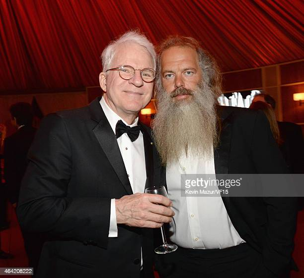 Steve Martin and Rick Rubin attend the 2015 Vanity Fair Oscar Party hosted by Graydon Carter at the Wallis Annenberg Center for the Performing Arts...