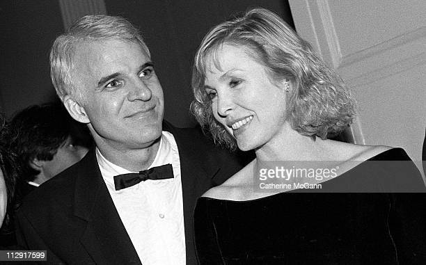 Steve Martin and Victoria Tennant at a tribute to Mike Nichols at the Waldorf Astoria hotel on February 27 1990 in New York City New York